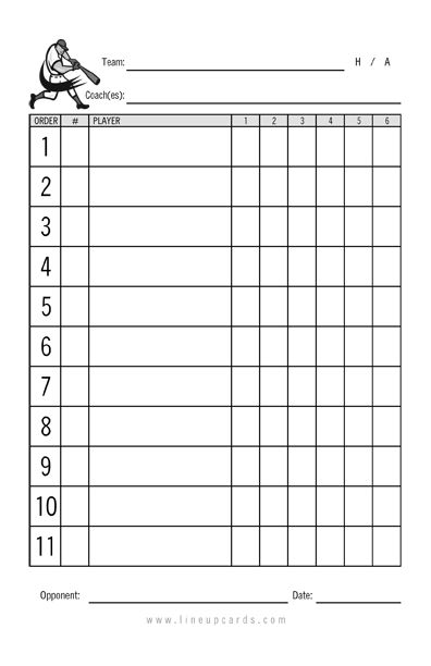 Custom Recreational Baseball League Lineup Cards 4-Part Lineup - baseball roster template