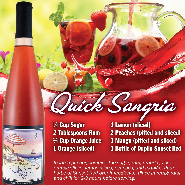 Quick Sangria Duplin Winery Cooking Wine Wine Recipes Sangria