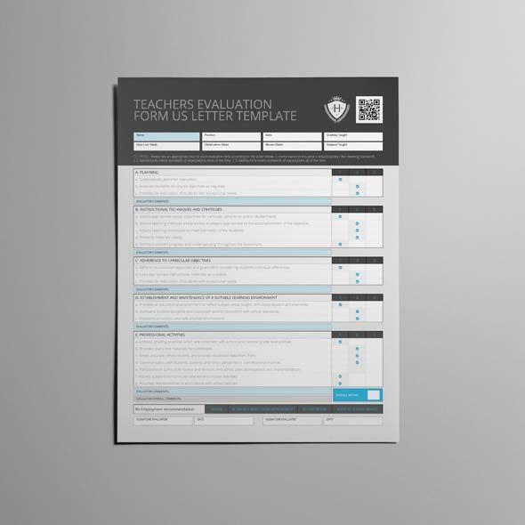 Teachers Evaluation Form US Letter Template CMYK \ Print Ready - product evaluation form