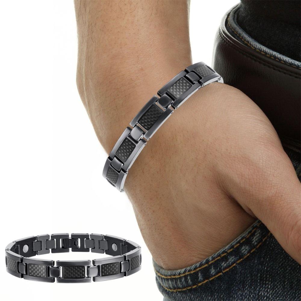 Men jewelry bio energy plated magnetic health bracelet men black