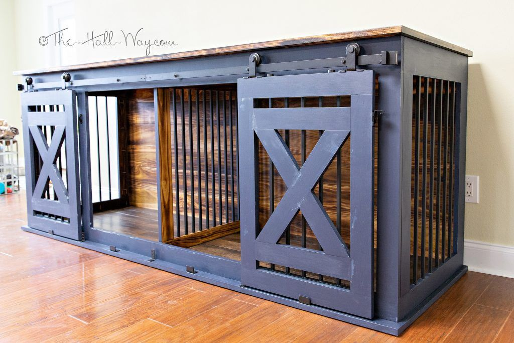 Diy Custom Double Dog Kennel Crate Furniture Farmhouse Barndoors In 2020 Diy Dog Crate Diy Dog Kennel Dog Kennel Furniture Diy