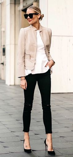 #fall #outfits women's black distressed skinny jeans. White Blouse. Black Pumps. Pink Blazer. Work Outfit.   Street style, street fashion, best street style, OOTD, OOTD Inspo, street style stalking, outfit ideas, what to wear now, Fashion Bloggers, Style, Seasonal Style, Outfit Inspiration, Trends, Looks, Outfits.