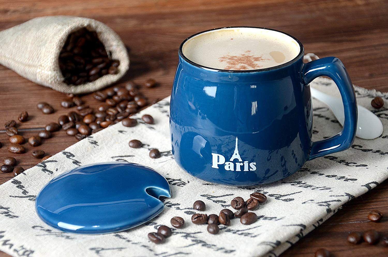 Cute Blue Ceramic Coffee Mug With Lid 500ml/17oz, Suitable