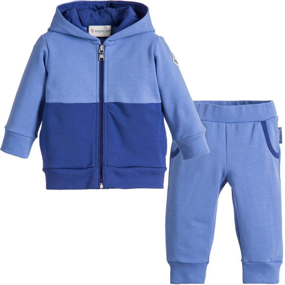 Baby Boys Blue Cotton Logo Tracksuit, Moncler, Boy