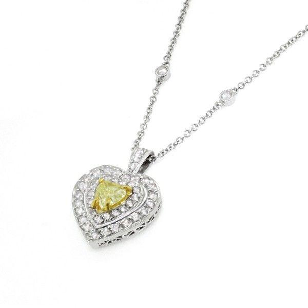 Fancy yellow heart shaped diamond halo pendant necklace 020ct fancy yellow heart shaped diamond halo pendant necklace 020ct fancy yellow heart shaped diamond mozeypictures Images