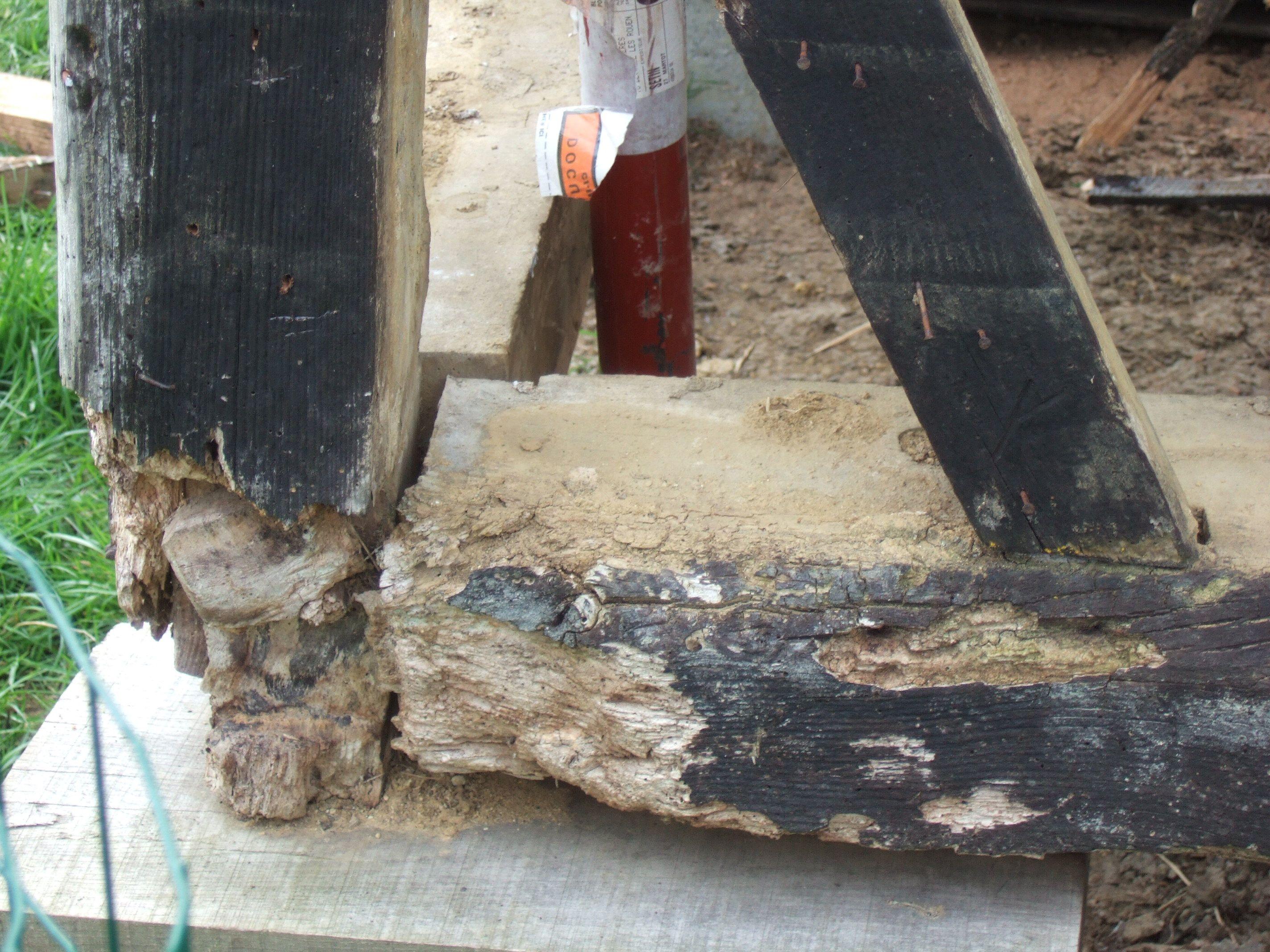 Colombage avant rénovation du poteau cornier. Rénovation by charpentierspaysdauge.com