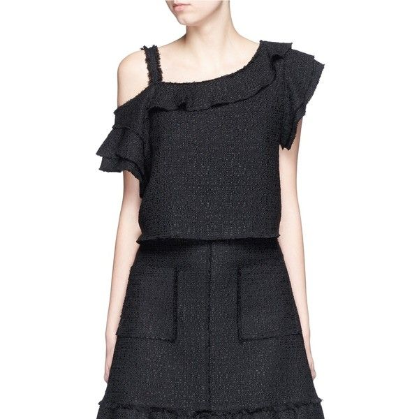 Proenza Schouler Ruffle one-shoulder tweed cropped top (8.055 HRK) ❤ liked on Polyvore featuring tops, black, black ruffle top, ruffle crop top, off the shoulder ruffle top, black slip and one shoulder top