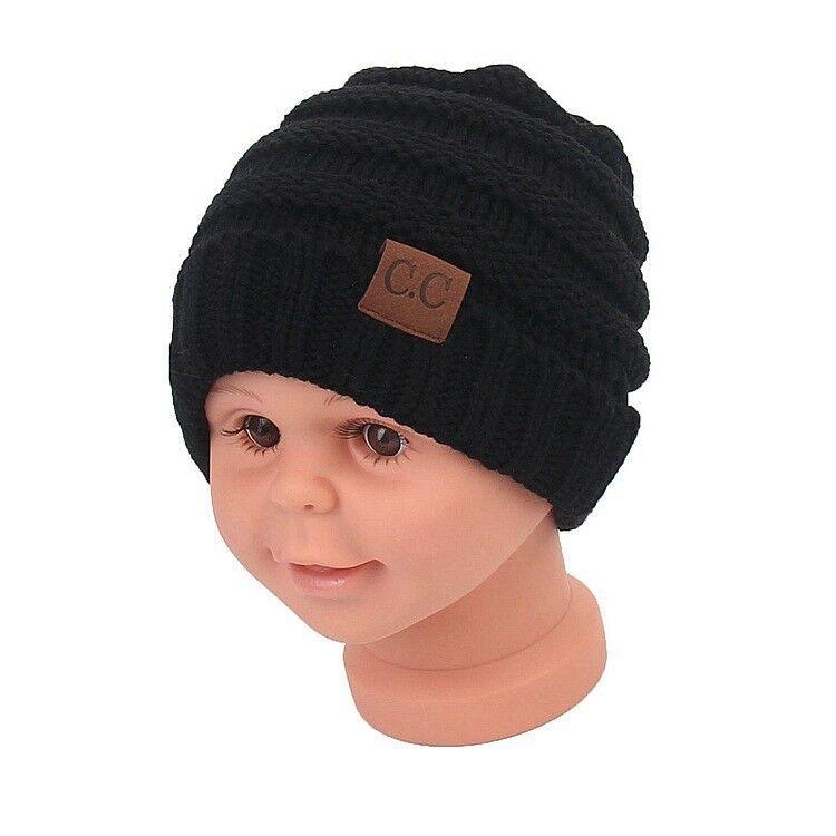 Boys Girls Toddler Kids Cartoon Cute Thick Warm Beanie Cap Baby Knit Hat