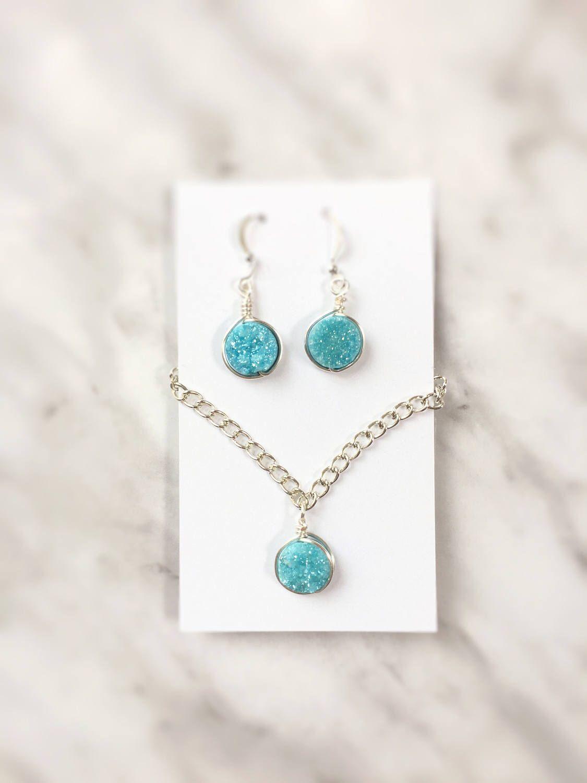A personal favorite from my Etsy shop https://www.etsy.com/ca/listing/398975163/sky-blue-druzy-jewelry-setgemstone