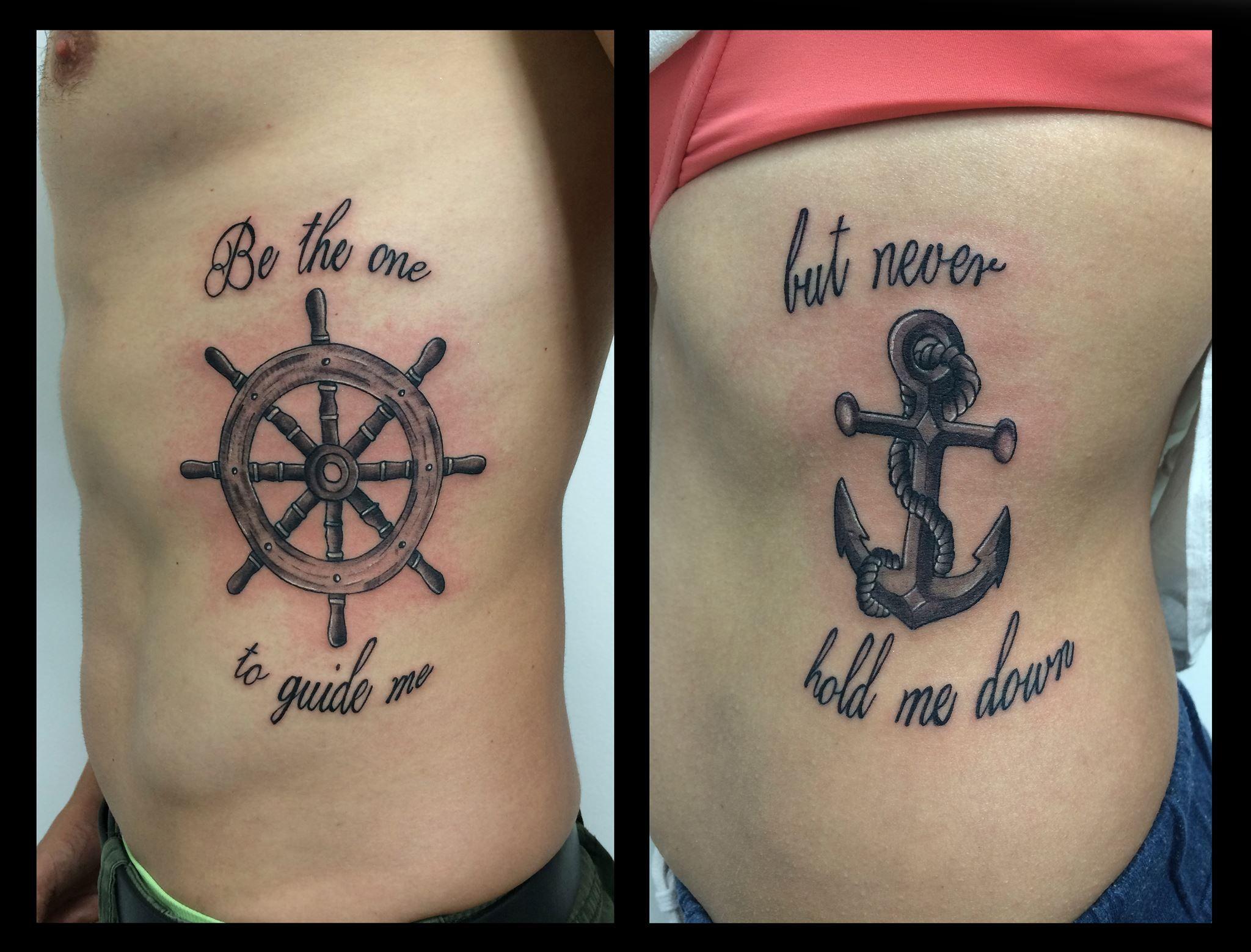 Tattoo Pareja Ancla Y Timon Bff Tatuajes Tatuaje Infinito
