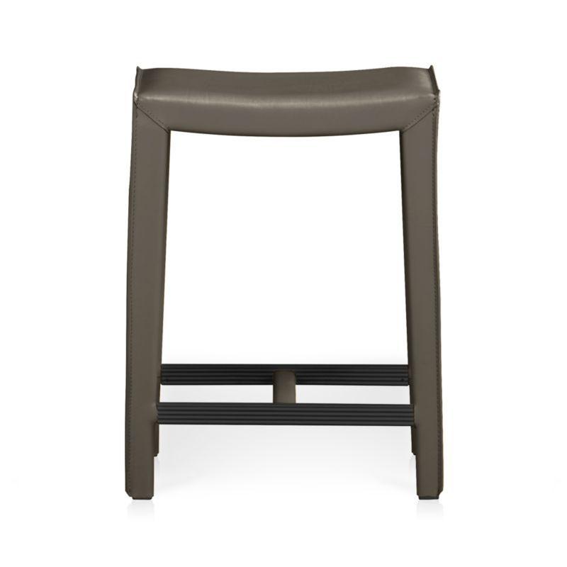 Folio Granite Grey Top Grain Leather Backless Bar Stool Backless Bar Stools Stool Counter Stools