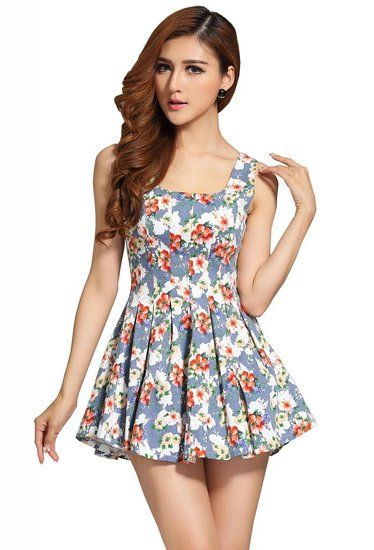 e9260b23dcd403 Buy Beautifulmall Women s Denim Sexy Sleeveless Flower Tank Pleated Flare  Mini Dress in Cheap Price on m.alibaba.com