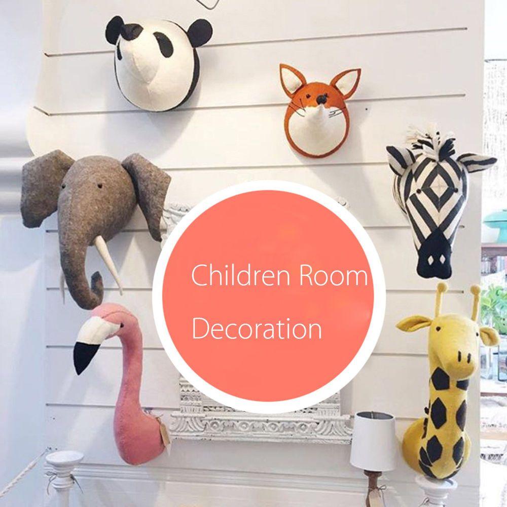 3d Felt Stuffed Animal Head Wall Hanging Children Room