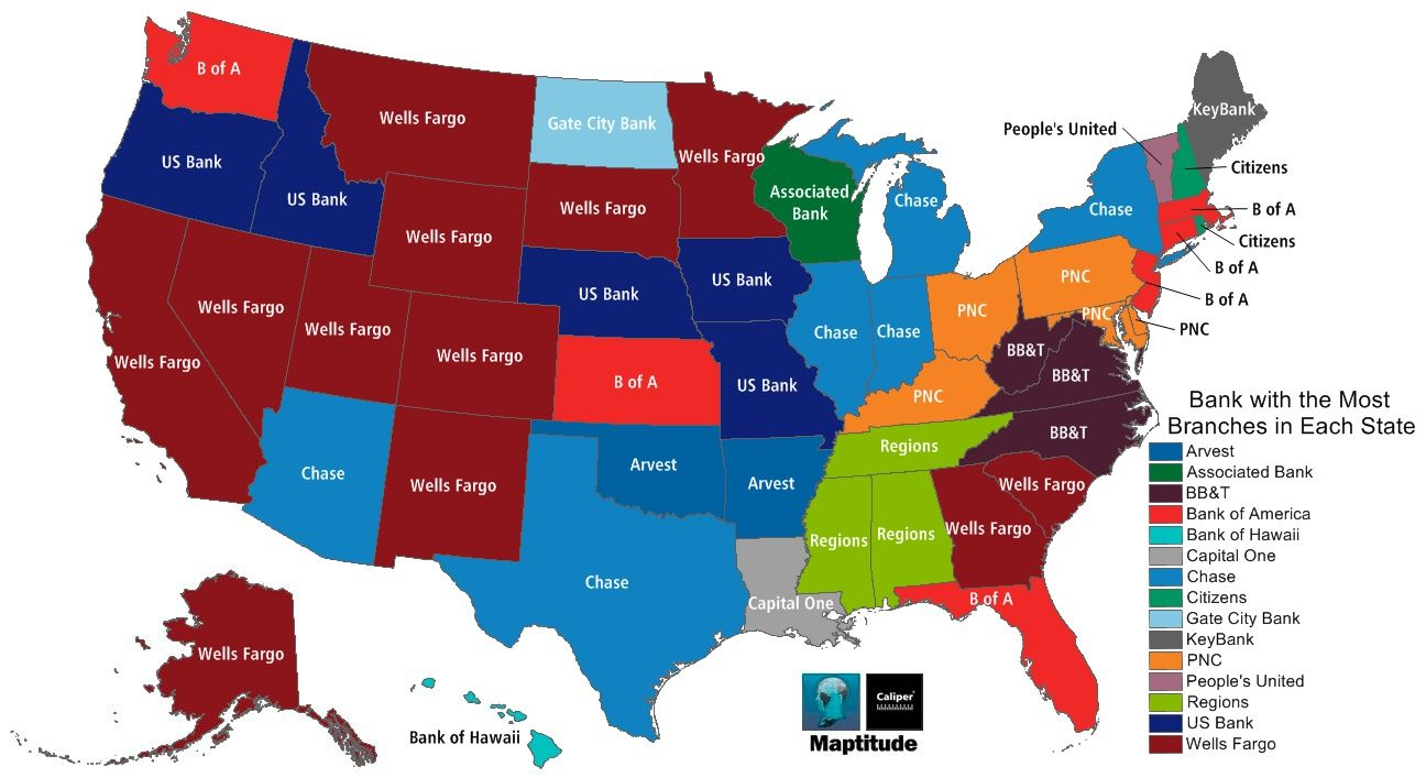 Maptitude Mapping Software Map Most Common Bank By State Home - Us bank map