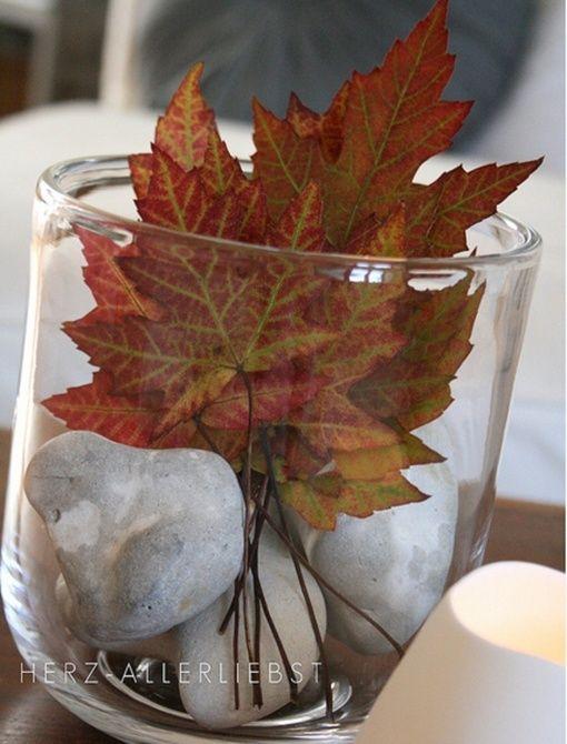 Decorar con elementos naturales hojas secas Decoracin