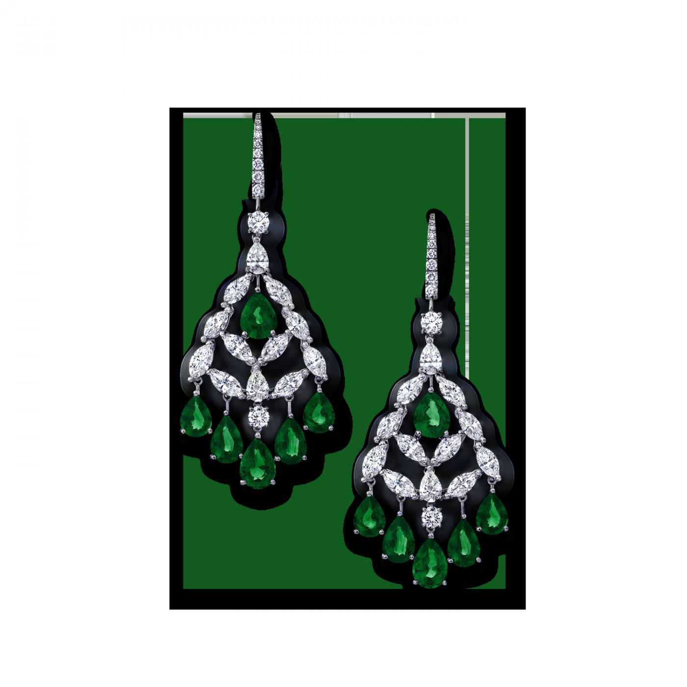 Angara Chandelier Emerald Dangle Earrings with Diamond Border in Platinum xVPg4