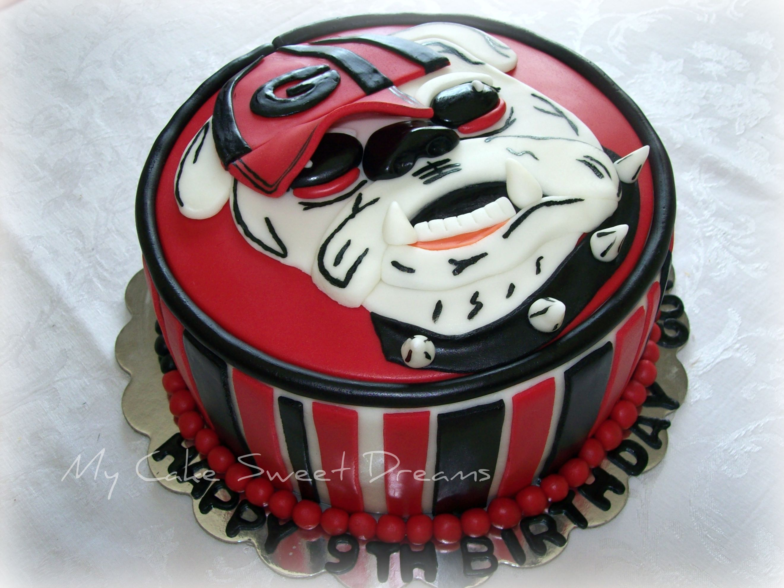 Astonishing Bulldog Cake Decorations Georgia Bulldog Birthday Cake With Funny Birthday Cards Online Elaedamsfinfo