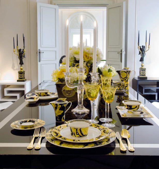 Versace Home Vanity Tableware Medusa Gold Cutlery Luxury Tableware Versace Home Dining Room Table Set