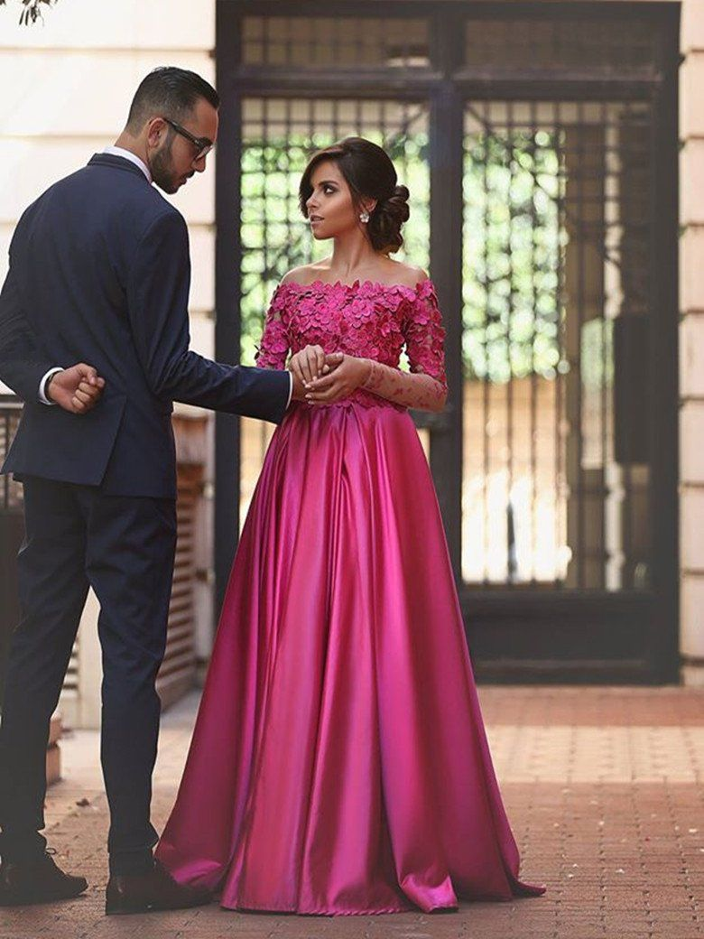 Beautiful prom dresses aline offtheshoulder fuchsia long sexy