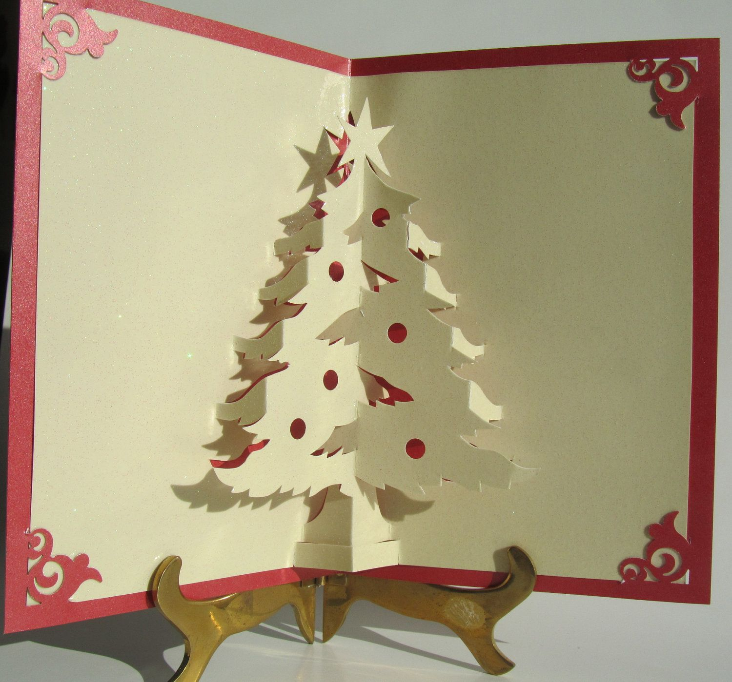 Handmade pop up cards christmas tree pop up up greeting for 3d christmas cards to make at home