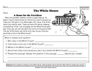 worksheet reading for information the white house american symbols pinterest white houses. Black Bedroom Furniture Sets. Home Design Ideas