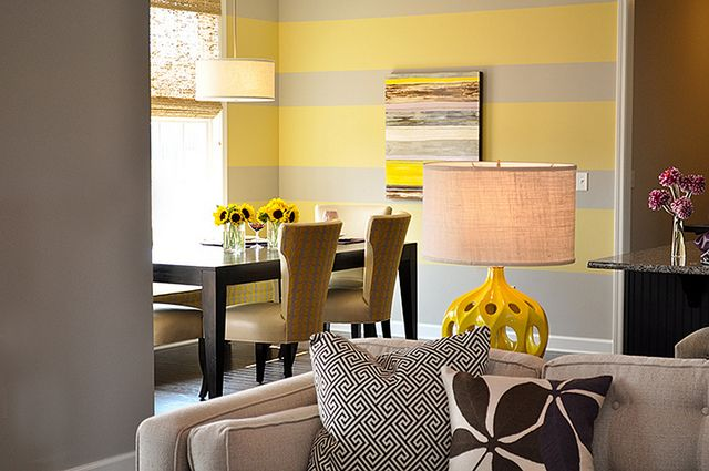Yellow and gray accent wall   Master bedroom   Pinterest   Dining ...