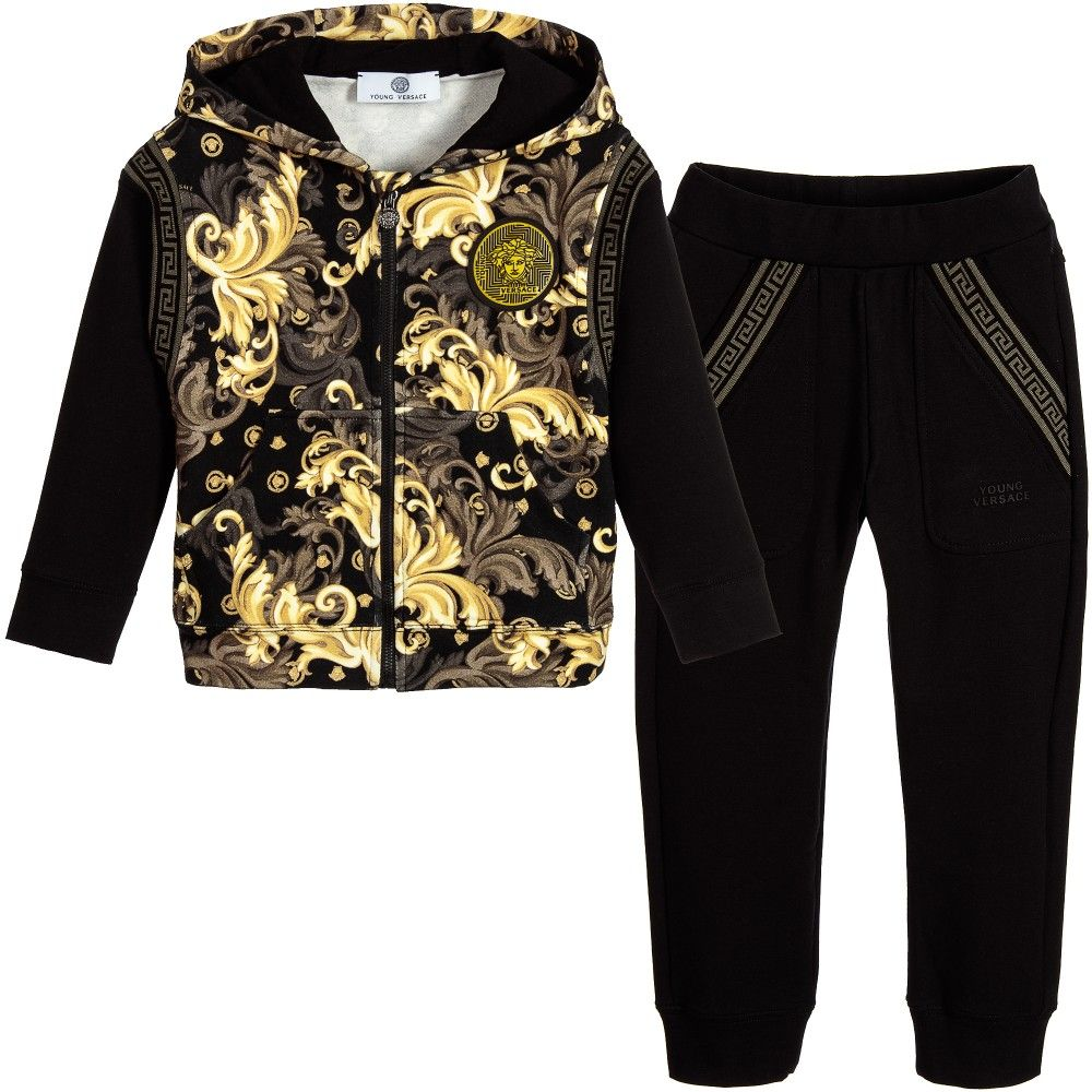 283a4d6b Young Versace Boys Black & Gold 'Barocco' Hooded Tracksuit ...