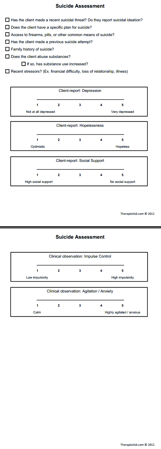 Suicide Assessment Printable  Clinical Forms