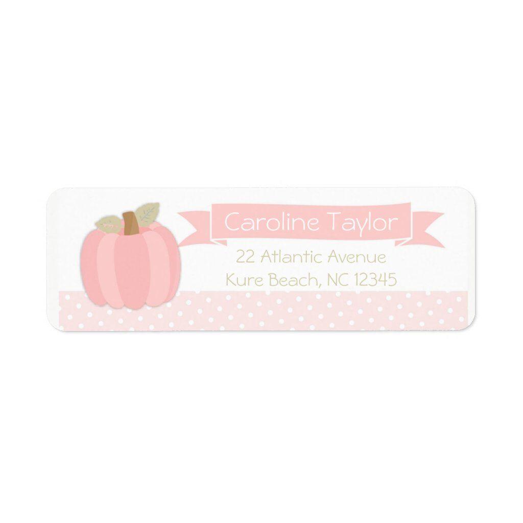 Pink Pumpkin Baby Shower Address Label 5 sheets