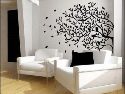 Elegant living room design ideas with tree wall murals - Simple elegant living room design ...