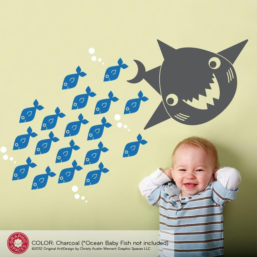 Happy Shark Wall Decal   Happy shark, Nursery room decor and ...