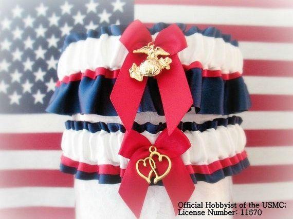 Military U S Marine Wedding Garter Set Dress Blues Garters Patriotic