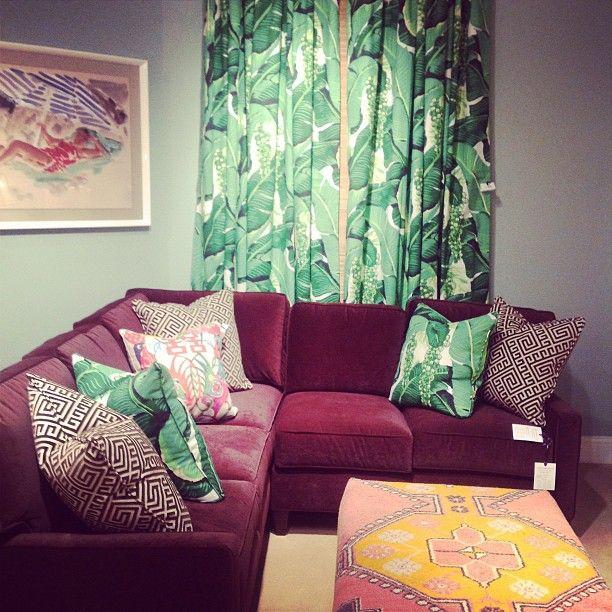 Maroon Walls Living Room