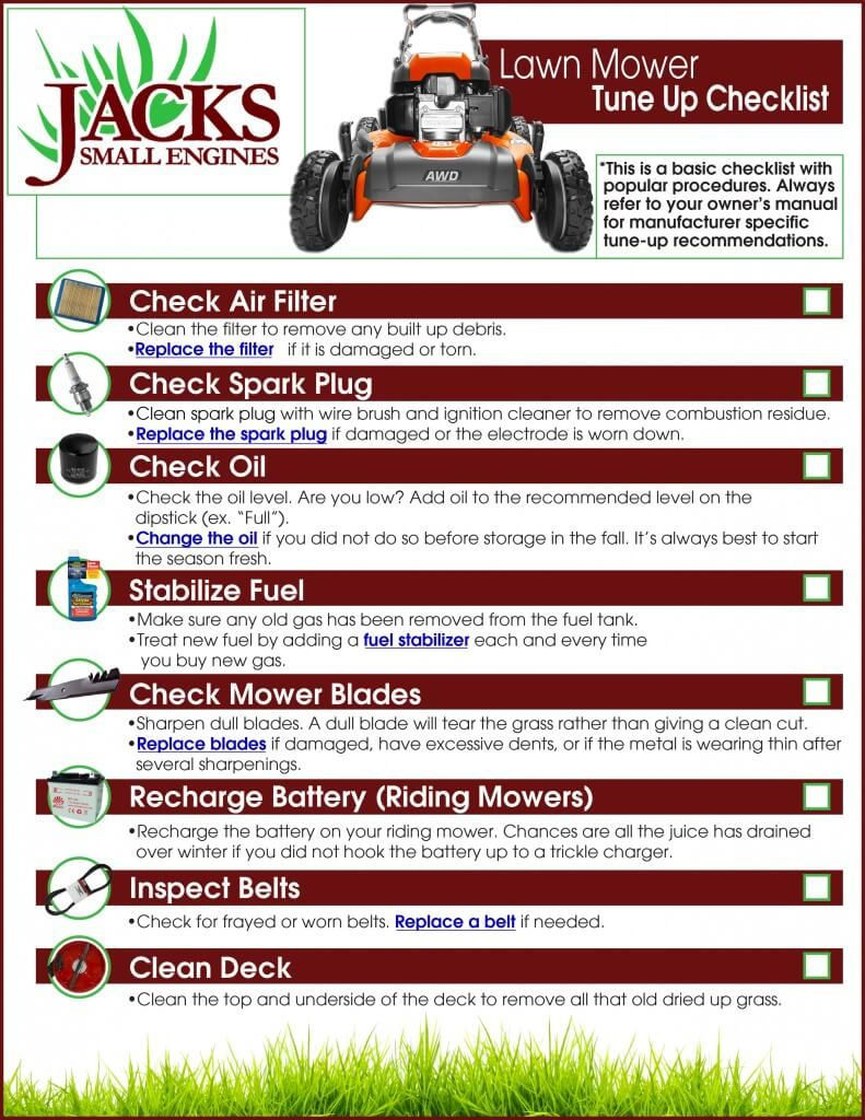 Mower checklist small engine repair pinterest lawn for Fall yard clean up checklist