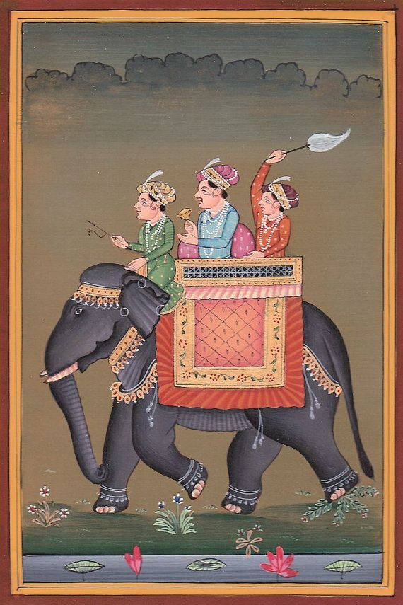 Beautifully detailed, hand painted, original Indian miniature watercolour from Rajasthan, the painting is mounted on a quality cream coloured Daler