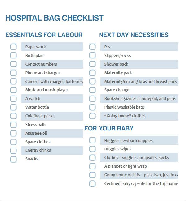 Newborn Hospital Checklist Baby Pinterest - newborn checklist