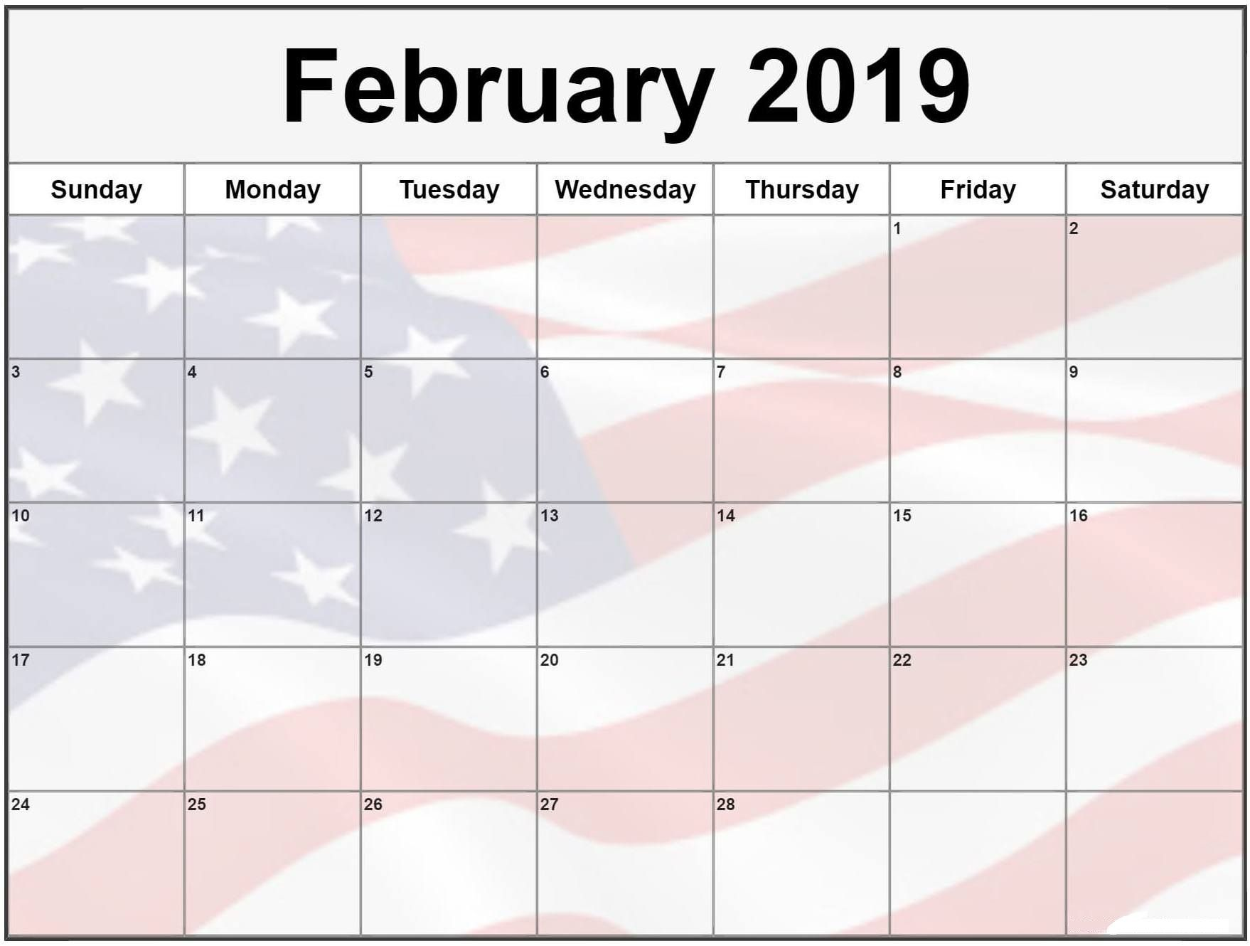 February 2019 Calendar Usa Flag February Calendar Monthly Calendar Printable August Calendar