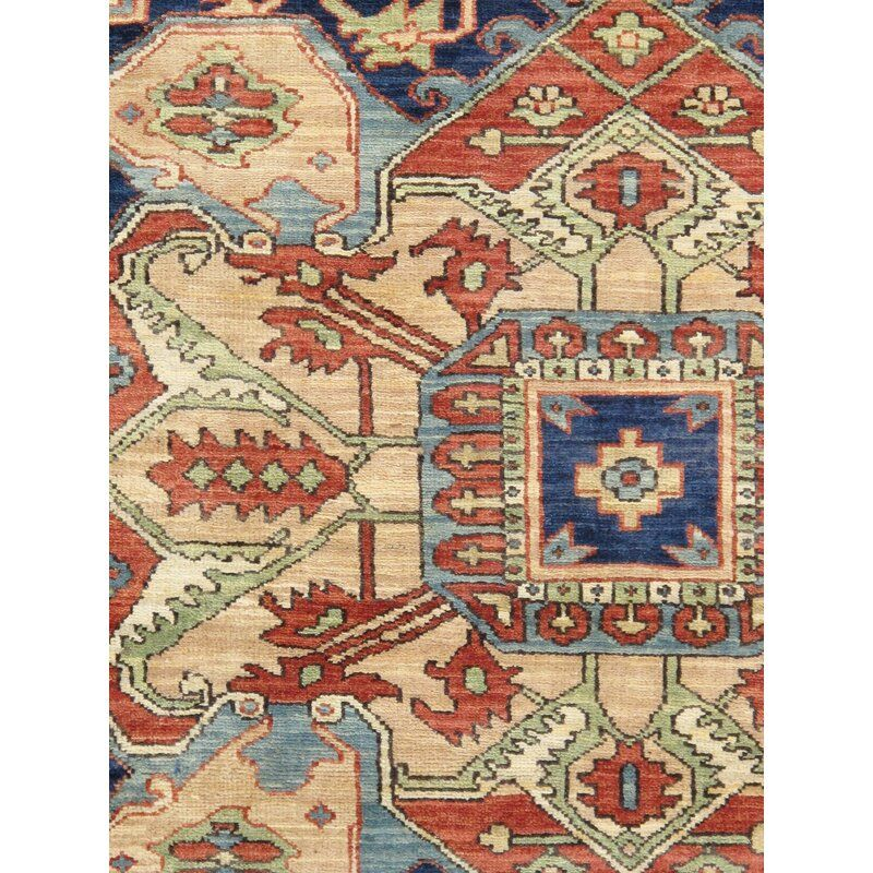 Serapi Oriental Hand Knotted Wool Ivory Navy Red Area Rug In 2020 Rugs Red Area Rug Area Rugs