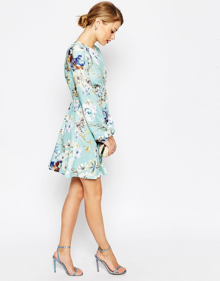 Image of asos skater dress with open back in floral print style