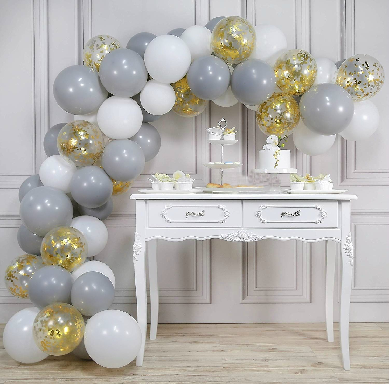 Stunning Diy Grey White With Gold Confetti Balloon Garland Kit