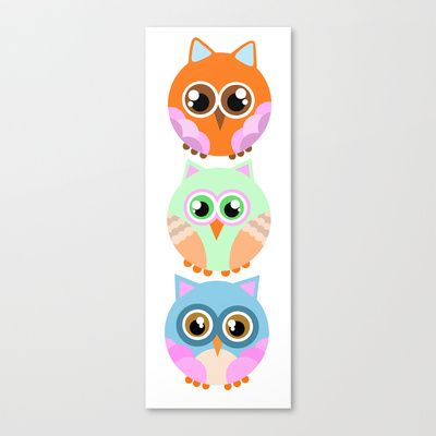 owls Stretched Canvas by elvia montemayor - $85.00