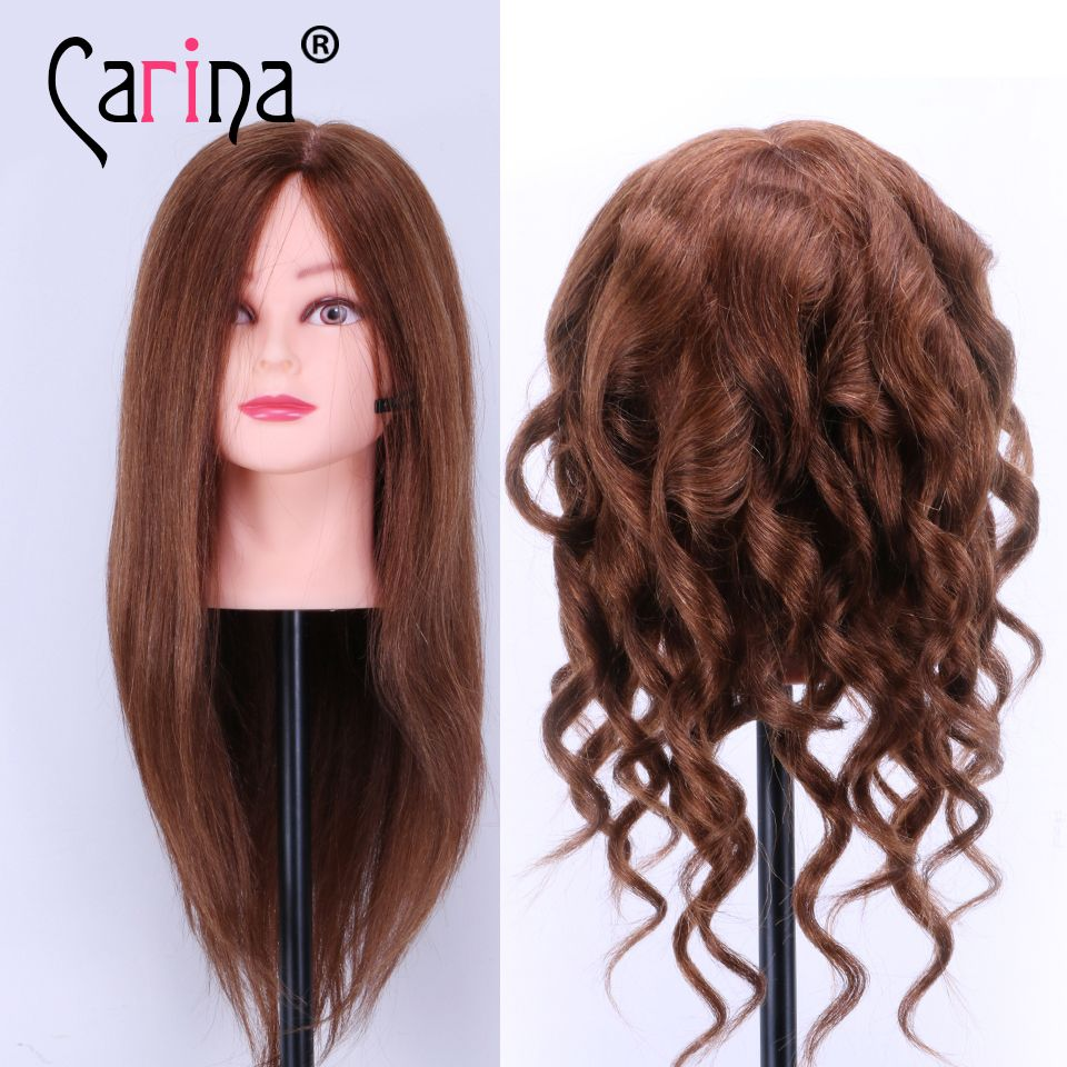 100 Real Hair Mannequin Head Women 18 Human Styling Hairdressing Doll Heads With
