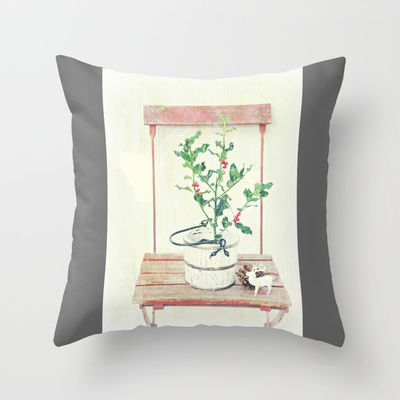 Holly Throw Pillow by Maria Dodson Starzyk - $20.00