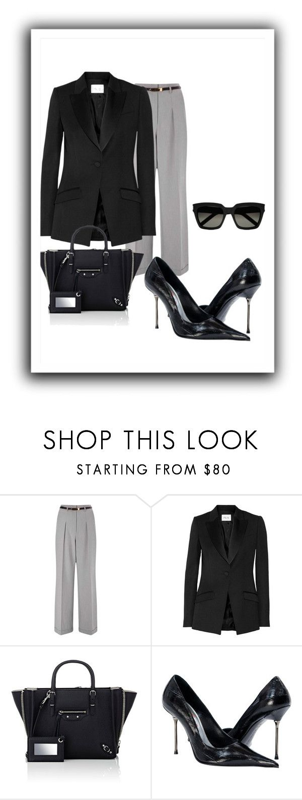 """Gray"" by fashionrushs ❤ liked on Polyvore featuring Miss Selfridge, PALLAS, Balenciaga, Yves Saint Laurent and thepantsuit"
