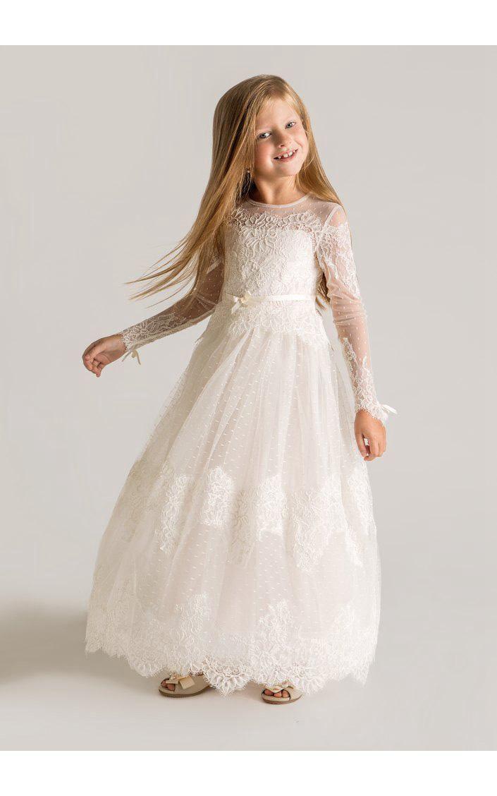 Modern tulle lace aline flower girl dress long sleeve flower