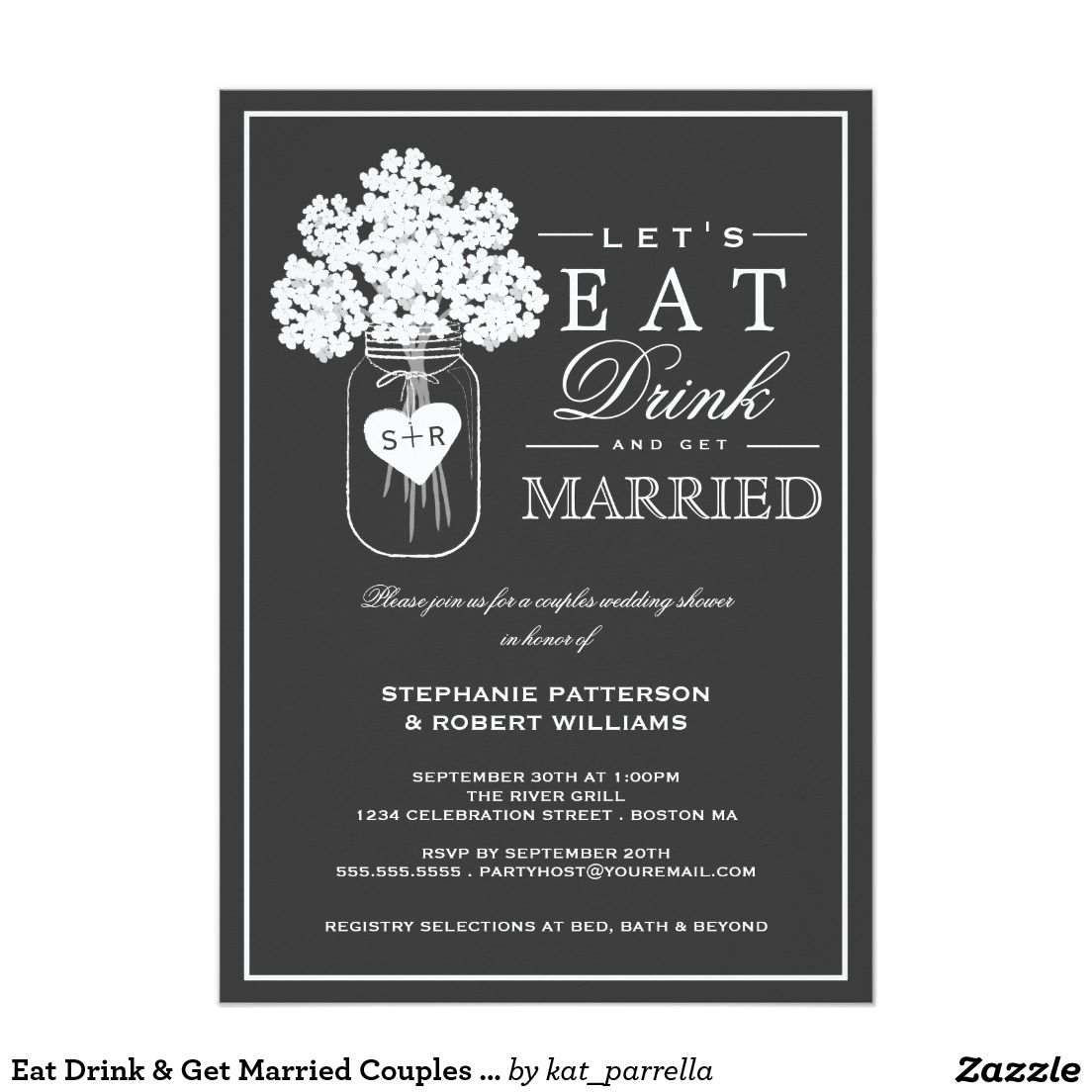 """1000 Images About Eat Drink And Be Married On Pinterest: Eat Drink & Get Married Couples Shower Invitation 5"""" X 7"""