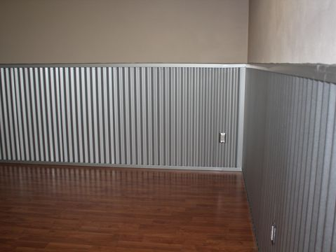 Corrugated Metal Roofing As Wainscoting In A Playroom