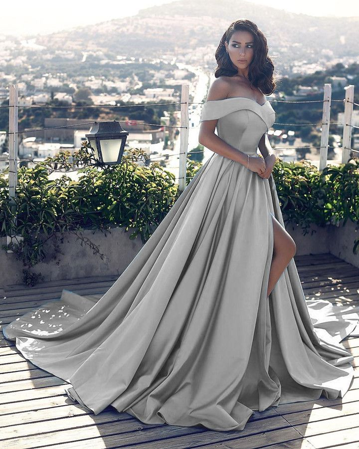 e852f570 sexy leg slit long silver gray prom dresses v neck off the shoulder evening  gowns 2018