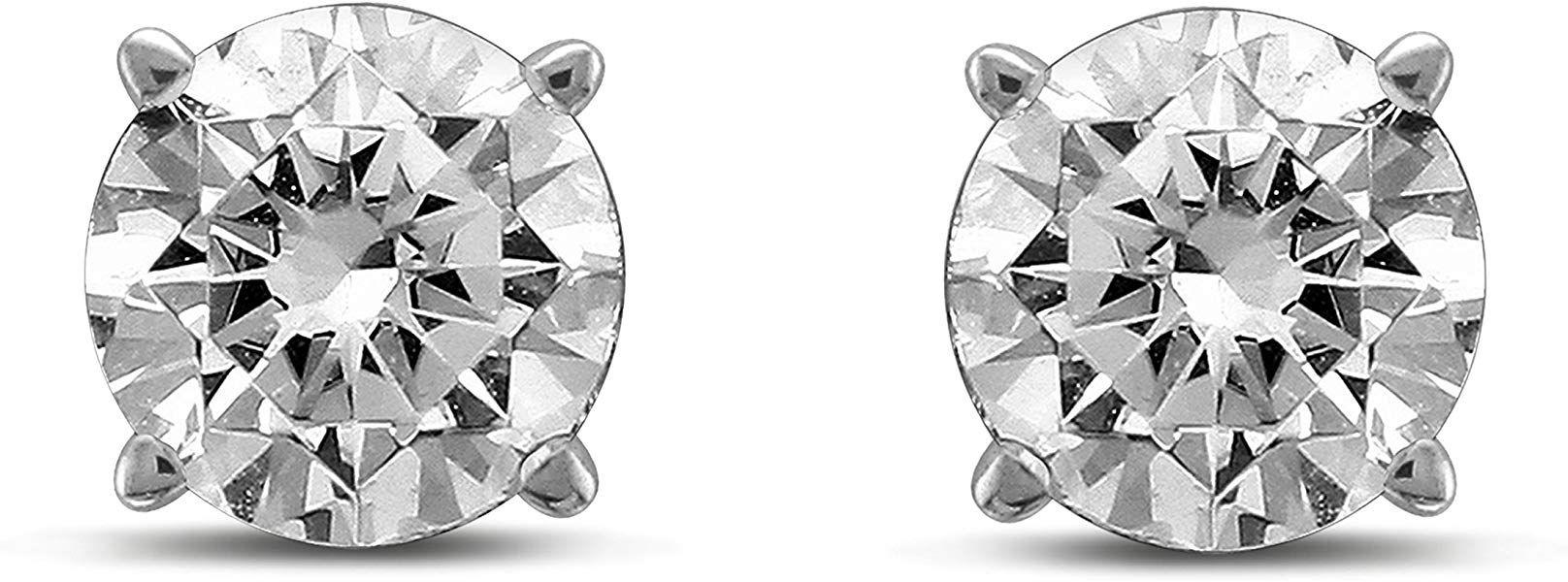 Solitaire Stud Femmes Boucles D/'oreilles Or 14k Diamant Naturel Rond