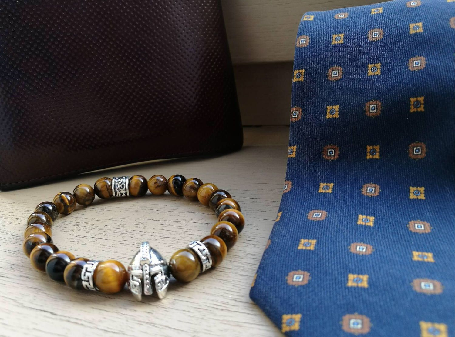 Viking Bracelet For Men, Men Gladiator Beaded Bracelet, Spartan Beaded  Bracelet, Tiger Eye Bracelet Men, Metal Helmet Bracelet For Men